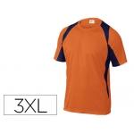 Camiseta Deltaplus poliester manga corta cuello redondo tratamiento secado rapido color naranja-marino talla 3xl