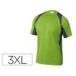 Camiseta Deltaplus poliester manga corta cuello redondo tratamiento secado rapido color verde-gris talla 3xl
