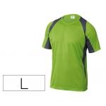Camiseta Deltaplus poliester manga corta cuello redondo tratamiento secado rapido color verde-gris talla l