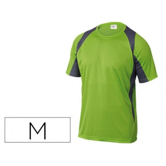 Camiseta Deltaplus poliester manga corta cuello redondo tratamiento secado rapido color verde-gris talla m
