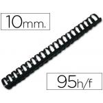Canutillo Q-Connect redondo 10 mm plástico color negro capacidad 95 hojas caja de 100 canutillos