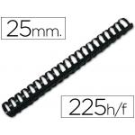 Canutillo Q-connect redondo 25 mm plástico color negro capacidad 225 hojas caja de 50 canutillos