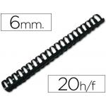 Canutillo Q-connect redondo 6 mm plástico color negro capacidad 20 hojas caja de 100 canutillos
