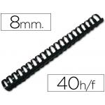 Canutillo Q-connect redondo 8 mm plástico color negro capacidad 40 hojas caja de 100 canutillos