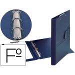 Carpeta 4 anillas 25 mm lengüeta miniclip plástico Saro tamaño folio color azul