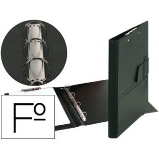Carpeta 4 anillas 25 mm lengüeta miniclip plástico Saro tamaño folio negra