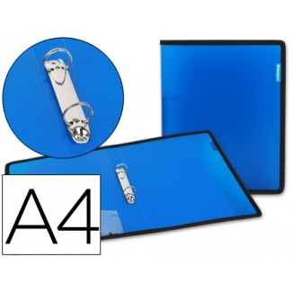 Carpeta Beautone 2 anillas 25 mm polipropileno azul con bolsa y tarjetero con ribete negro