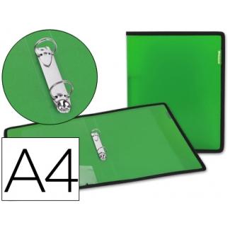Carpeta Beautone 2 anillas 25 mm polipropileno verde con bolsa y tarjetero con ribete negro