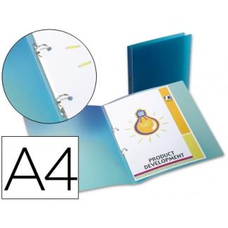 Liderpapel CA65 - Carpeta de anillas, 2 anillas redondas de 15 mm, polipropileno, A4, color azul translúcido
