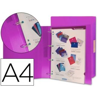 Carpeta Beautone 4 anillas 25 mm mixtas polipropileno tamaño A4 color violeta serie frosty