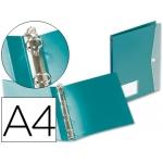 Carpeta Beautone 4 anillas redondas 25 mm polipropileno tamaño A4 color verde con dossier broche en portada
