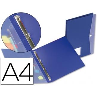 Carpeta Beautone 4 anillas redondas mini 15 mm polipropileno tamaño A4 color azul con dossier broche en portada