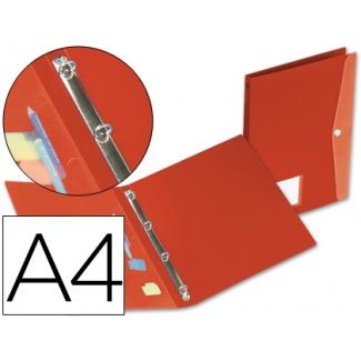 Carpeta Beautone 4 anillas redondas mini 15 mm polipropileno tamaño A4 color roja con dossier broche en portada