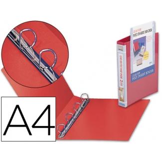 Carpeta Beautone canguro 4 anillas mixtas 25 mm polipropileno tamaño A4 color roja