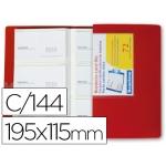Carpeta Beautone clasificador de tarjetas polipropileno 115x190 mm para 144 tarjetas color roja
