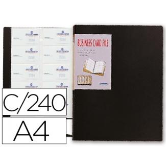 Carpeta Beautone clasificador de tarjetas polipropileno tamaño A4 para 240 tarjetas negra