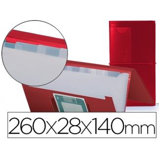 Carpeta Beautone clasificador fuelle polipropileno color roja para letras y diskette 13 departamentos