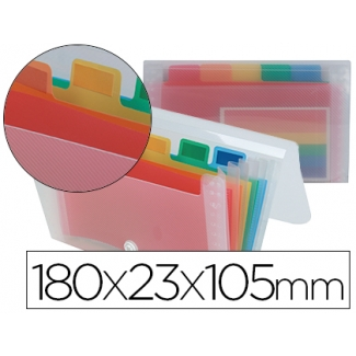 Liderpapel Spectrafile CQ01 - Carpeta clasificadora con fuelle, polipropileno, tamaño 180 x 105 mm, 6 departamentos, transparente