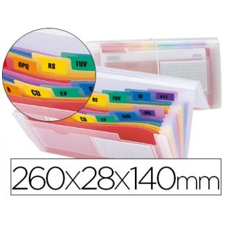 Liderpapel Spectrafile CQ03 - Carpeta clasificadora con fuelle, polipropileno, tamaño 260 x 140 mm, 13 departamentos, transparente