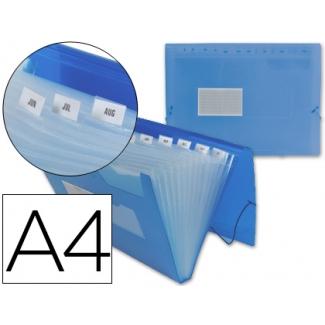 Liderpapel FU12 - Carpeta clasificadora con fuelle, polipropileno, tamaño A4, 13 departamentos, color azul translúcido