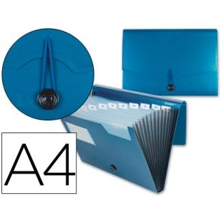 Carpeta Beautone clasificador fuelle polipropileno tamaño A4 color azul 1 hueco tarjeta 13 departamentos
