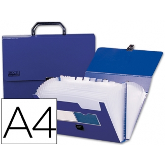 Carpeta Beautone clasificador fuelle polipropileno tamaño A4 color azul con asa superline 13 departamentos