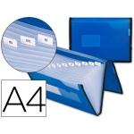 Carpeta Beautone clasificador fuelle polipropileno tamaño A4 color azul con ribete negro 13 departamentos