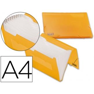 Carpeta Beautone clasificador fuelle polipropileno tamaño A4 color naranja serie frosty 13 departamentos