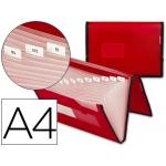 Carpeta Beautone clasificador fuelle polipropileno tamaño A4 color roja con ribete negro 13 departamentos