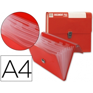 Carpeta Beautone clasificador fuelle polipropileno tamaño A4 color roja sin asa superline 8 departamentos