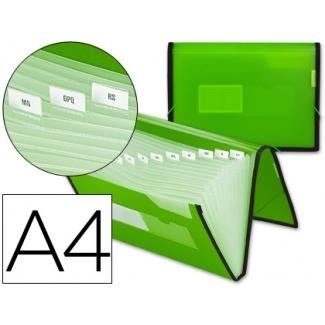 Carpeta Beautone clasificador fuelle polipropileno tamaño A4 color verde con ribete negro 13 departamentos
