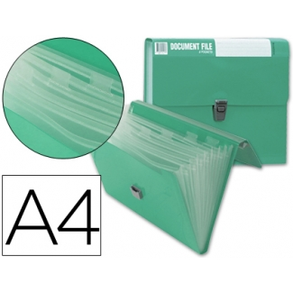 Carpeta Beautone clasificador fuelle polipropileno tamaño A4 color verde sin asa superline 8 departamentos