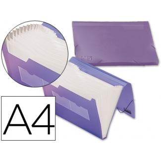 Liderpapel FU18 - Carpeta clasificadora con fuelle, polipropileno, tamaño A4, 13 departamentos, color violeta translúcido