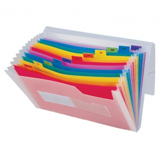 Liderpapel Spectrafile FU08 - Carpeta clasificadora con fuelle, polipropileno, tamaño A4, 13 departamentos, transparente