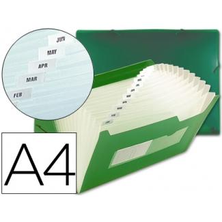 Carpeta Beautone clasificador fuelle polipropileno tamaño A4 huecos tarjetas-13 departamentos