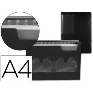 Carpeta Beautone clasificador fuelle polipropileno tamaño A4 negra 2 diskettera 13 departamentos