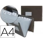 Carpeta Beautone clasificador fuelle polipropileno tamaño A4 negra transparente 13 departamentos