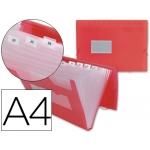 Carpeta Beautone clasificador fuelle polipropileno tamaño A4 roja transparente 13 departamentos