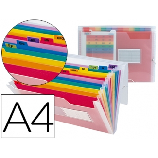 Carpeta Beautone clasificador fuelle polipropileno tamaño A4 con dos 2 huecos tarjetas 13 departamentos