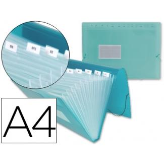Liderpapel FU13 - Carpeta clasificadora con fuelle, polipropileno, tamaño A4, 13 departamentos, color verde translúcido