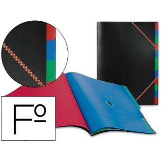 Carpeta Beautone clasificador polipropileno tamaño folio negra portafirmas 12 departamentos