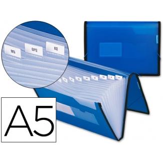 Carpeta Beautone clasificadora fuelle polipropileno tamaño A5 color azul ribete negro