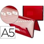 Carpeta Beautone clasificadora fuelle polipropileno tamaño A5 color roja ribete negro