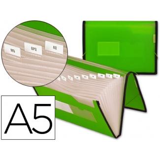 Carpeta Beautone clasificadora fuelle polipropileno tamaño A5 color verde ribete negro