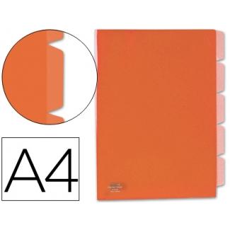 Carpeta Beautone dossier 5 separadores polipropileno tamaño A4 roja transparente