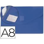 Carpeta Beautone dossier broche polipropileno A8 color azul con cierre de velcro