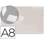Carpeta Beautone dossier broche polipropileno A8 color incolora con cierre de velcro