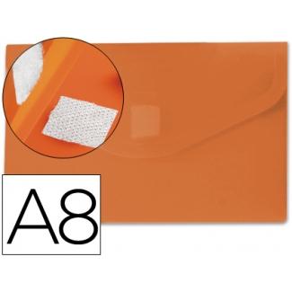 Carpeta Beautone dossier broche polipropileno A8 color naranja con cierre de velcro