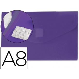 Carpeta Beautone dossier broche polipropileno A8 color violeta con cierre de velcro
