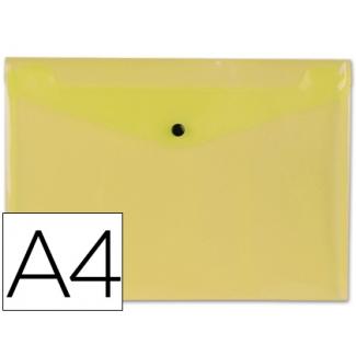 Liderpapel DS14 - Dossier con broche, A4, 180 micras, capacidad para 50 hojas, color amarillo transparente